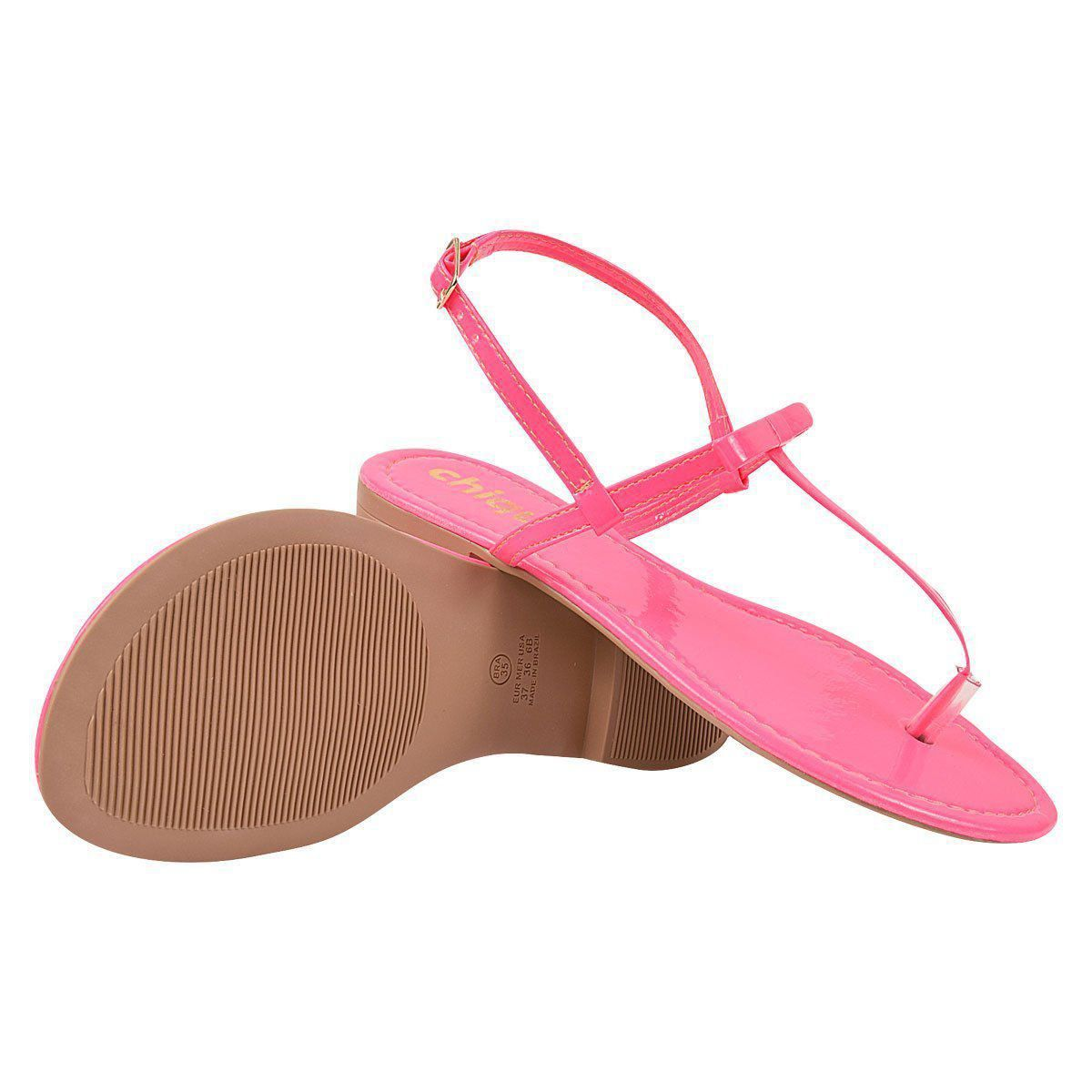 Sandália Chiquiteira Rasteira Verniz Pink JUL