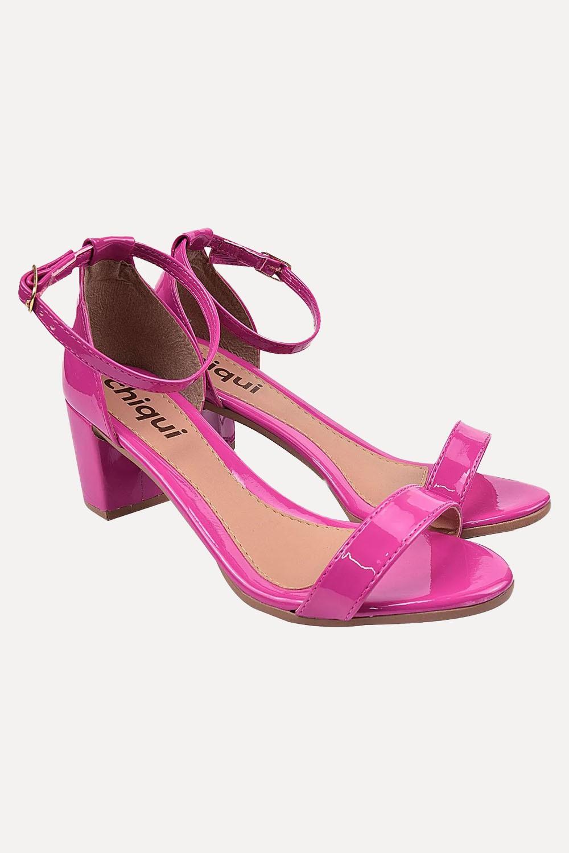 Sandália Chiquiteira Salto Baixo Faixa Verniz Pink SP