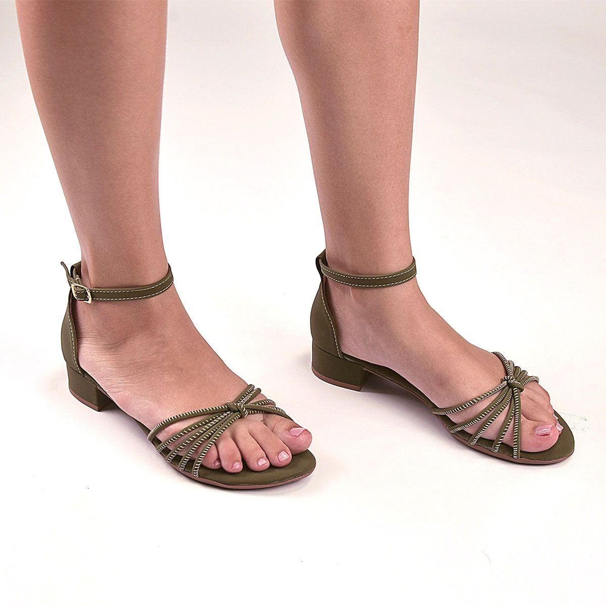 Sandália Chiquiteira Salto Baixo Roletê Nó Nobuck Verde Musgo BRA