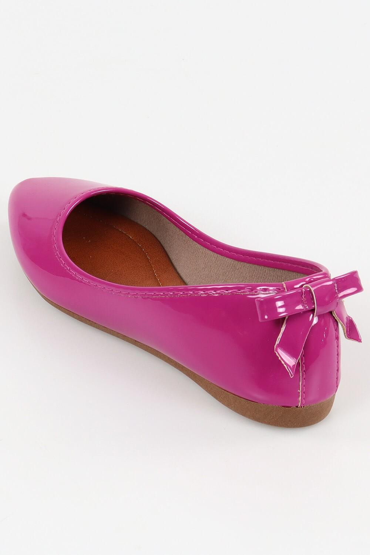 Sapatilha Chiquiteira Bico Fino Laço Traseiro Verniz Pink ADD
