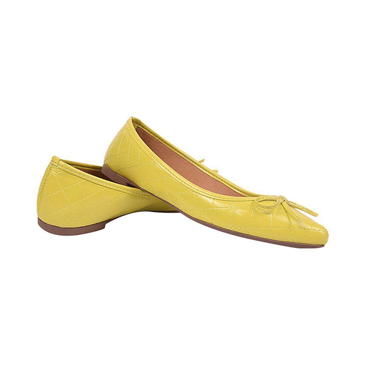 Sapatilha Chiquiteira Bico Fino Laço Verniz Amarelo CA