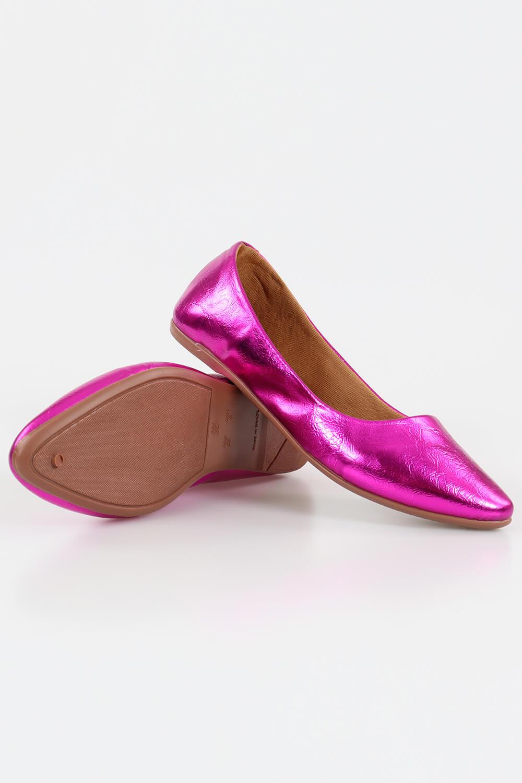 Sapatilha Chiquiteira Bico Fino Metalizado Pink VIA