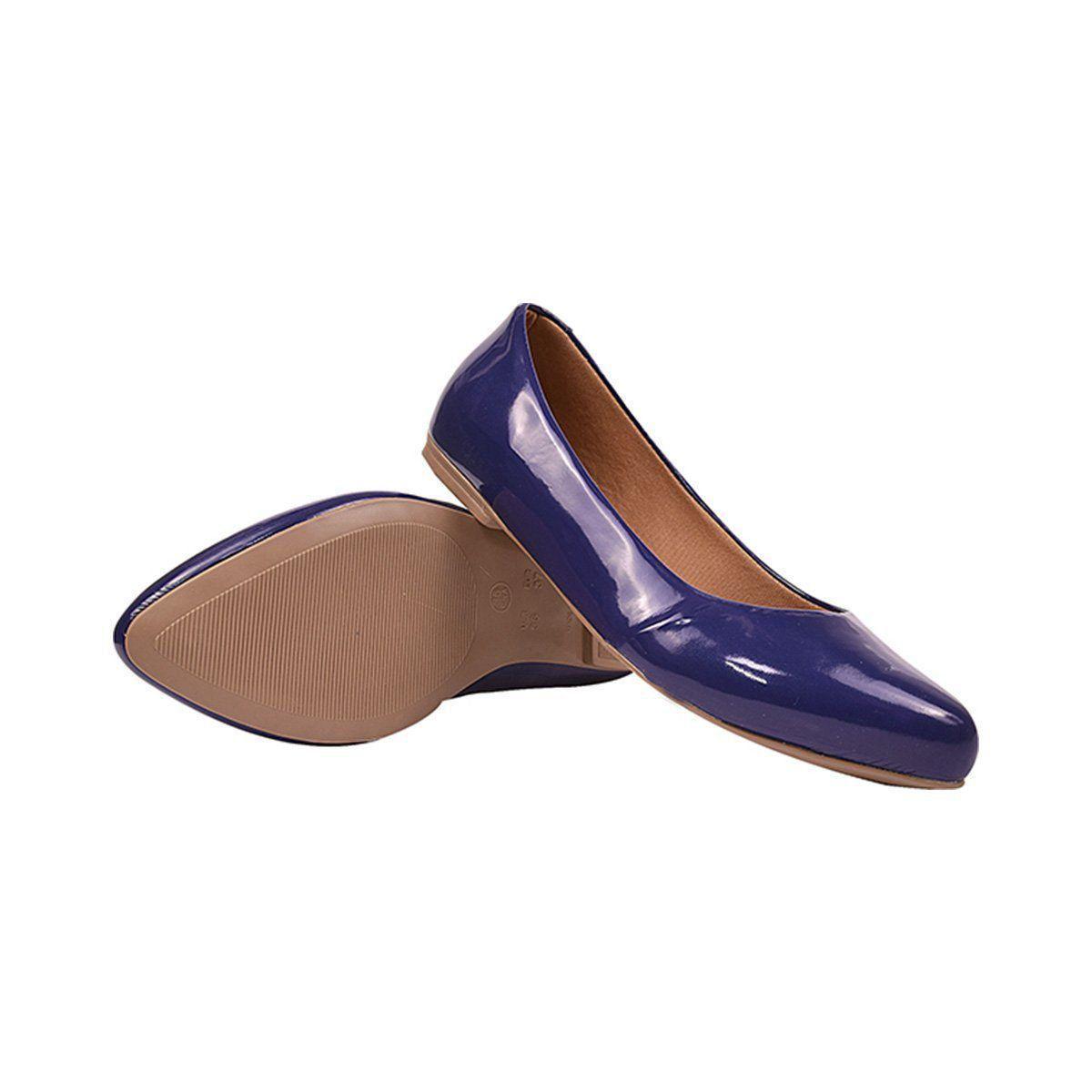 Sapatilha Chiquiteira Bico Fino Verniz Azul-Marinho OS