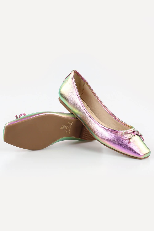 Sapatilha Chiquiteira Bico Quadrado Laço Metalizado Pink/Verde HIT