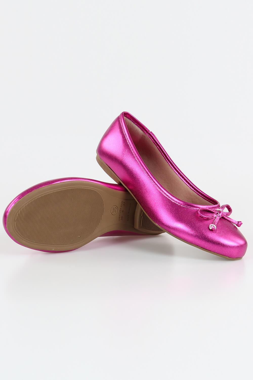 Sapatilha Chiquiteira Bico Redondo Laço Metalizado Pink JAU