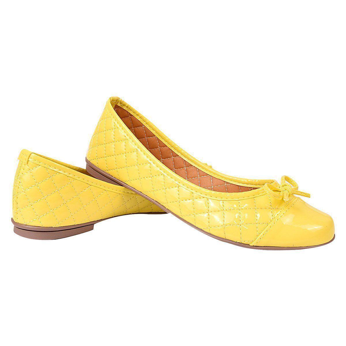 Sapatilha Chiquiteira Bico Redondo Laço Verniz Amarelo WAG