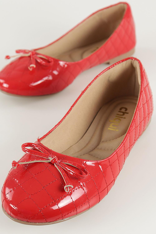 Sapatilha Chiquiteira Bico Redondo Matelassê Verniz Vermelho AC