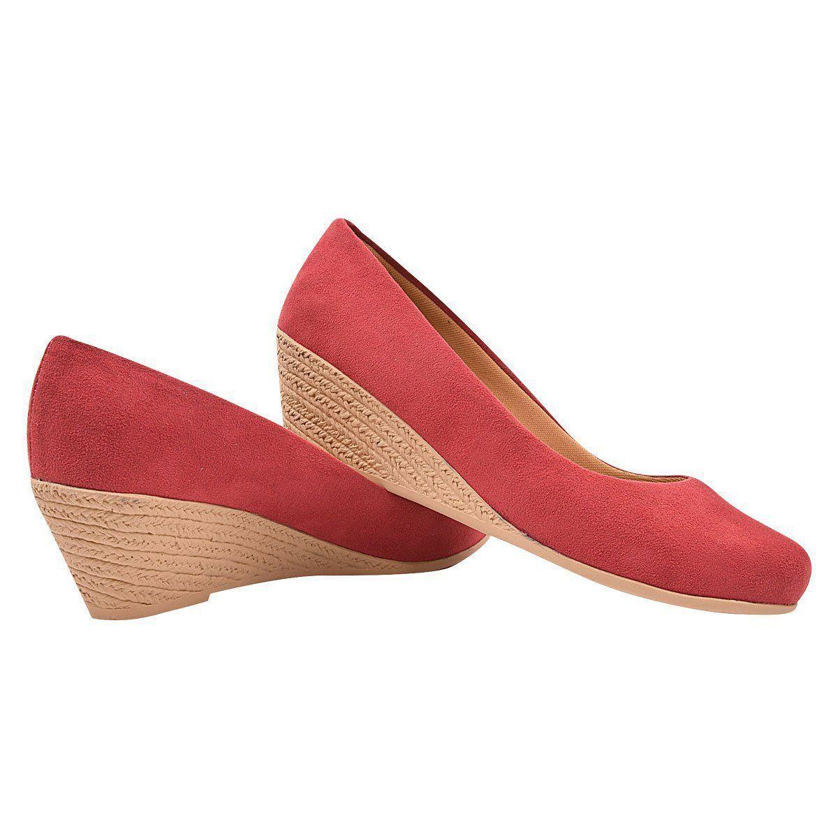 Sapato Chiquiteira Anabela Suede Vermelho WLN