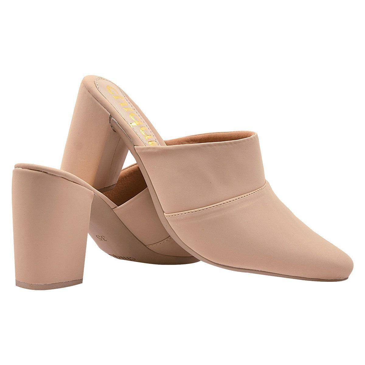 Sapato Mule Chiquiteira Salto Grosso Nobuck Liso Amêndoa BRA