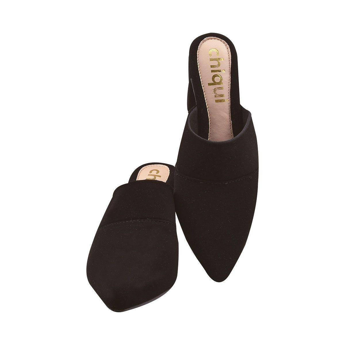 Sapato Mule Chiquiteira Salto Grosso Nobuck Liso Preto BRA