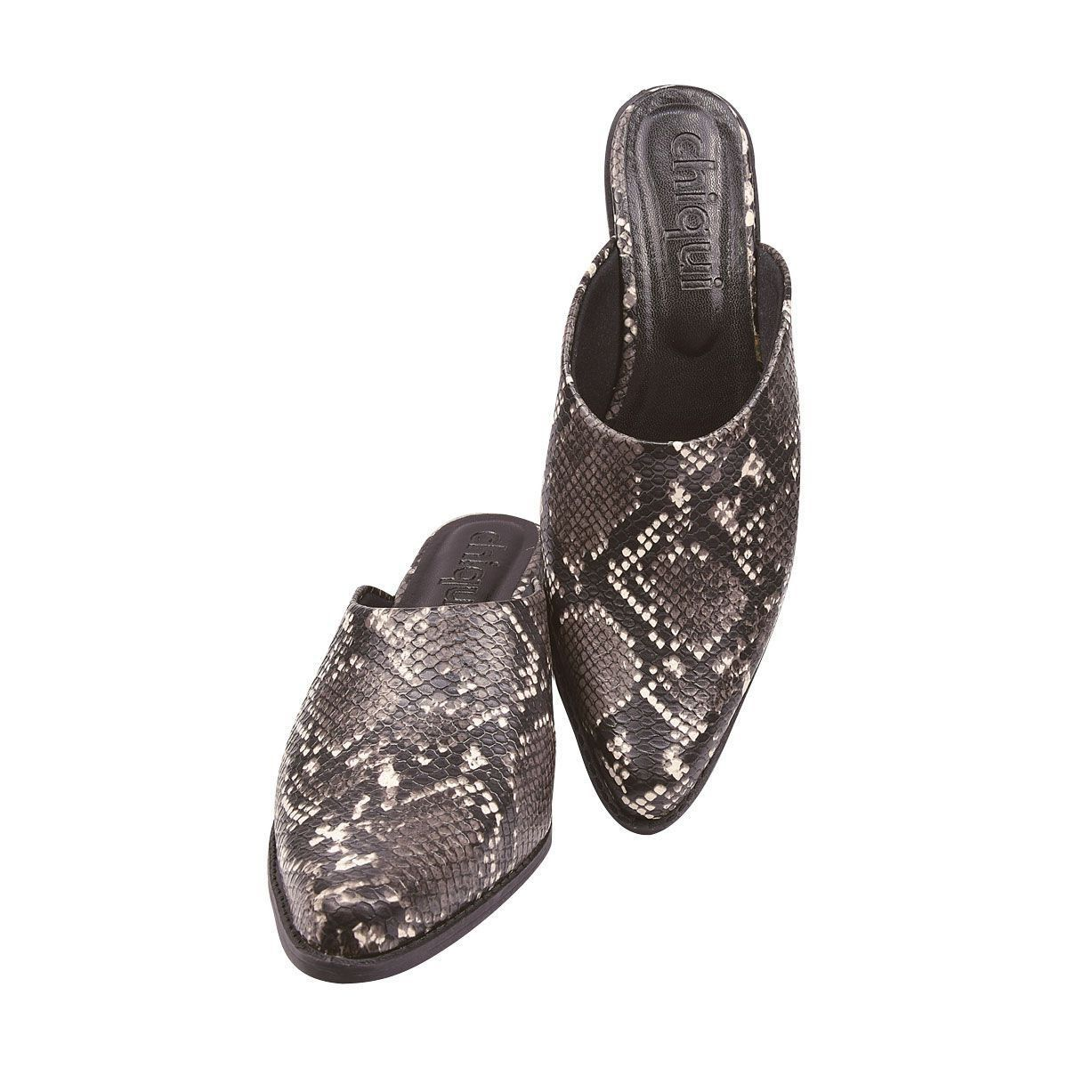 Sapato Mule Chiquiteira Salto Grosso Python Off White DH