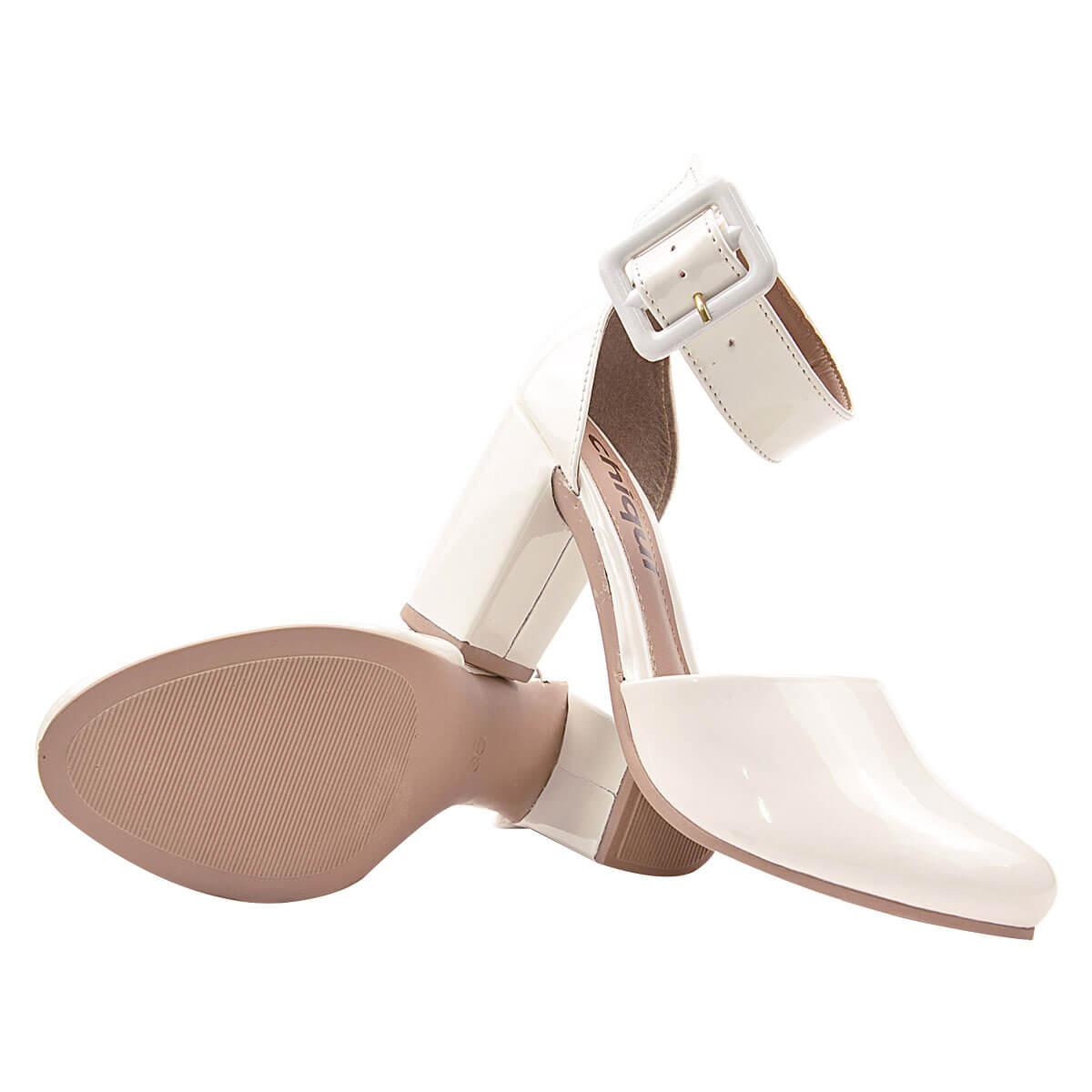 Sapato Scarpin Chiquiteira Salto Grosso Fivela Verniz Branco SP