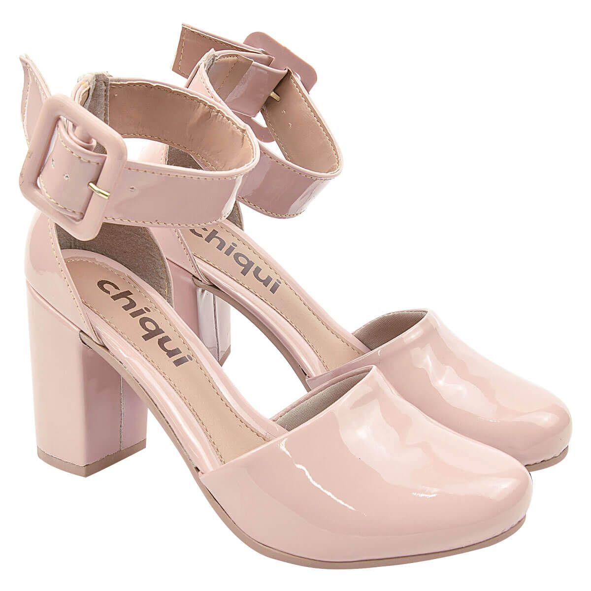 Sapato Scarpin Chiquiteira Salto Grosso Fivela Verniz Candy SP
