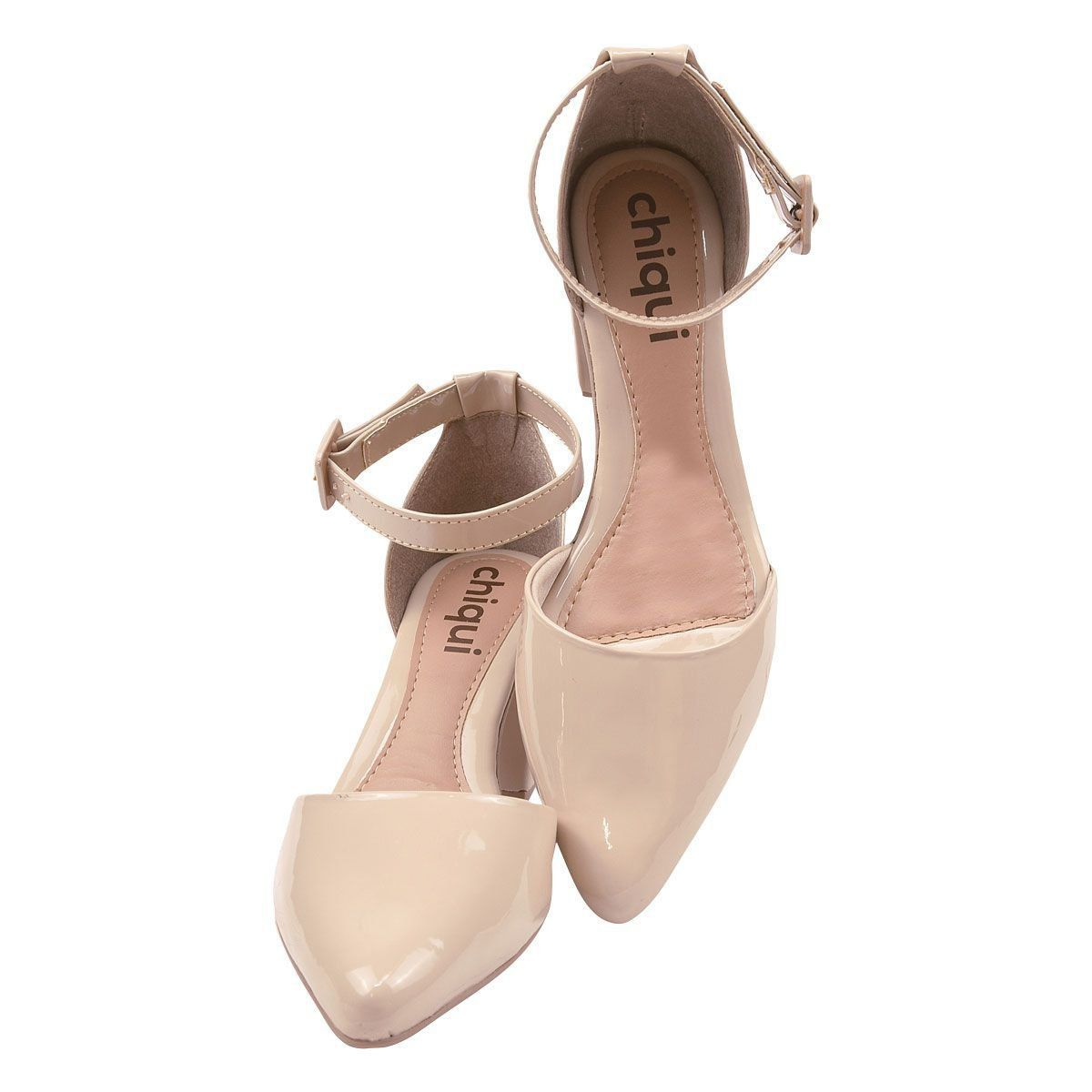 Sapato Scarpin Chiquiteira Salto Grosso Fivela Verniz Porcelana SP
