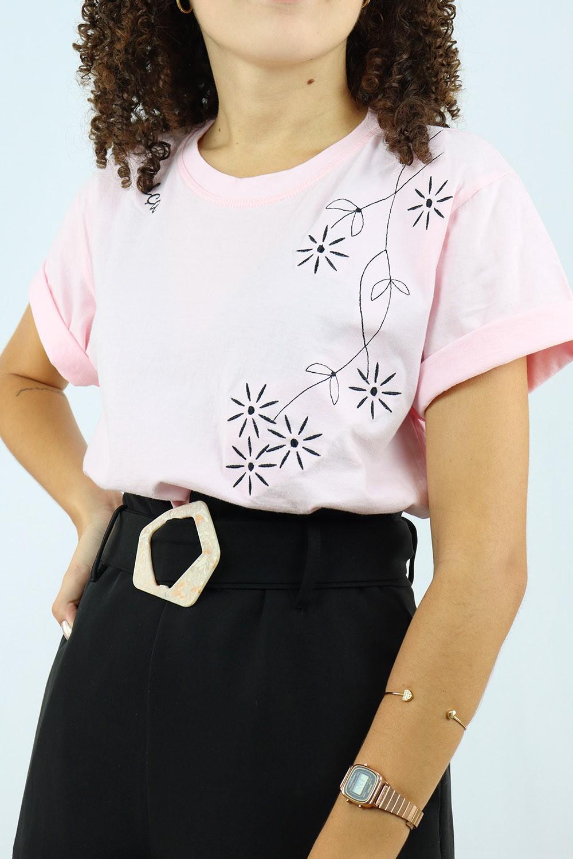 T-Shirt Chiquiteira Floresça Rosa MD06 STP