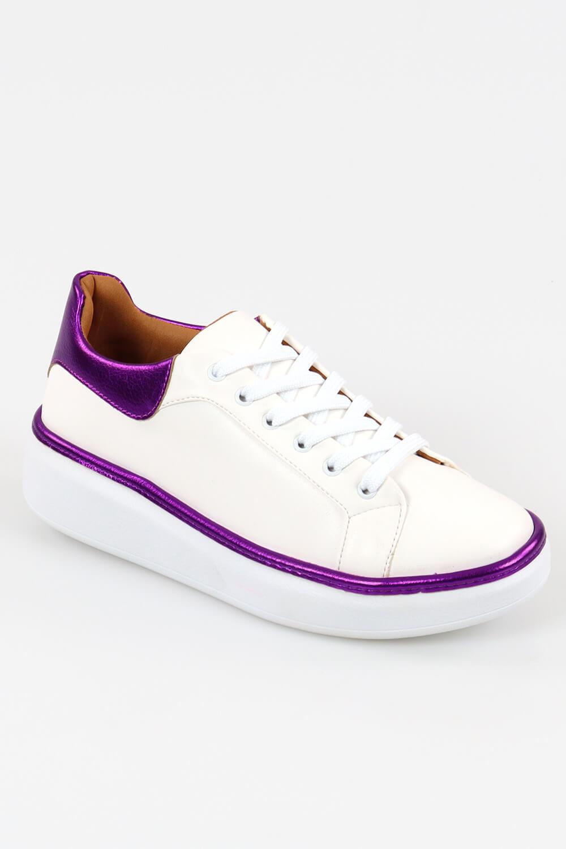 Tênis Chiquiteira Casual Color Linha Napa Branco/Roxo DCH
