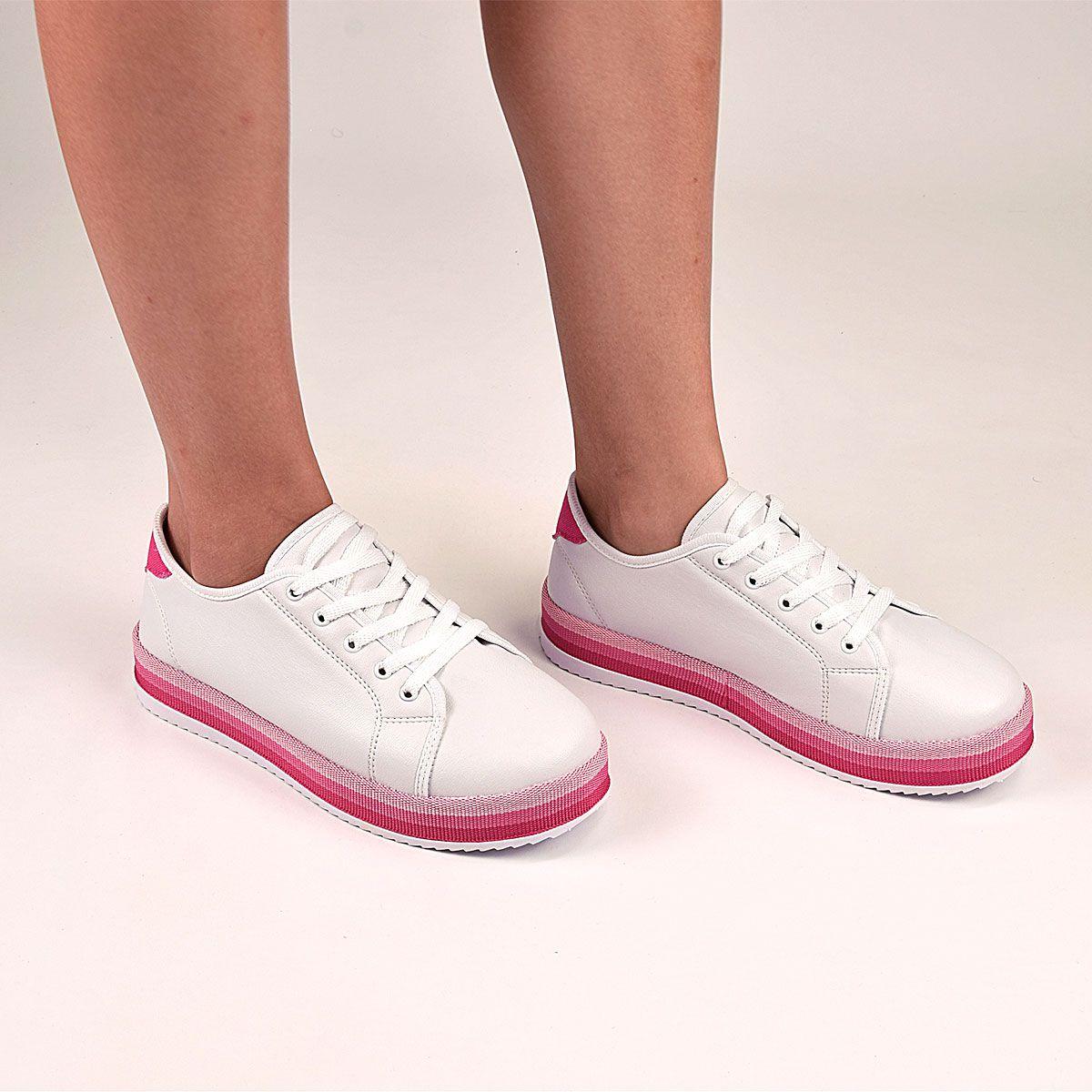 Tênis Chiquiteira Casual Gorgurão Sintético Branco/Pink JOY
