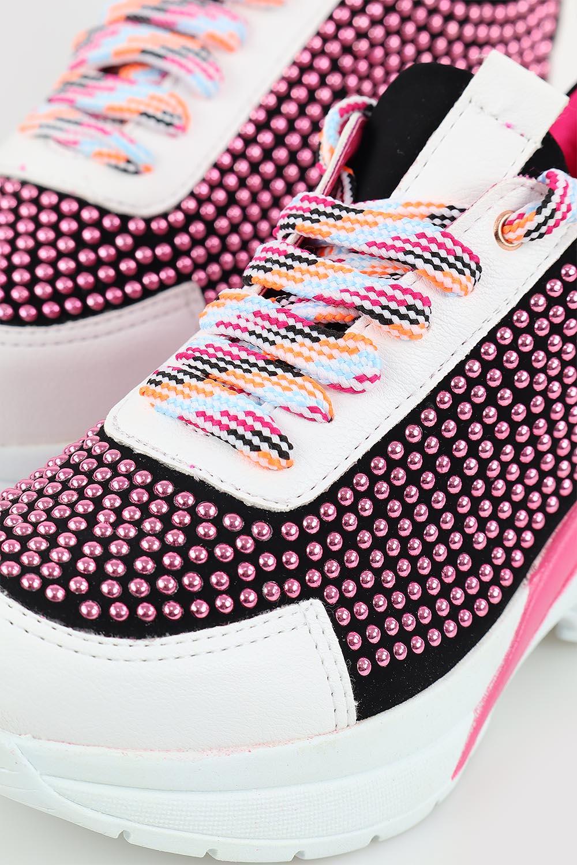 Tênis Chiquiteira Casual Hotfix Branco/Preto/Pink AV