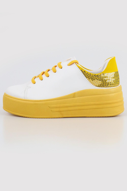 Tênis Chiquiteira Casual Lantejoula Nobuck Branco/Amarelo AV