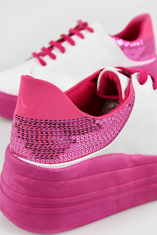 Tênis Chiquiteira Casual Lantejoula Nobuck Branco/Pink AV