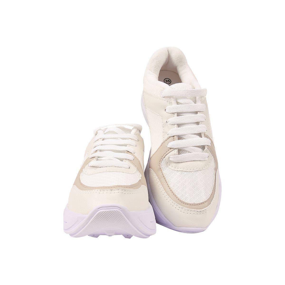 Tênis Chiquiteira Casual Natural Branco/Branco FLR