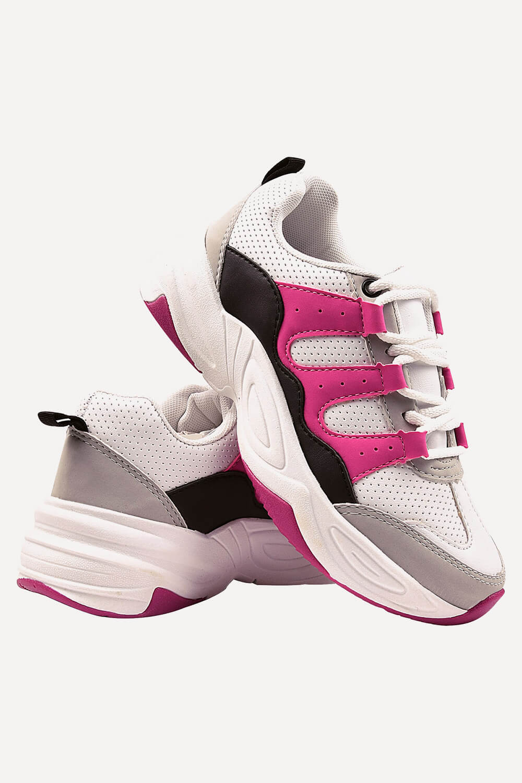 Tênis Chiquiteira Casual Sola Bicolor Napa Branco/Pink/Gelo LOG