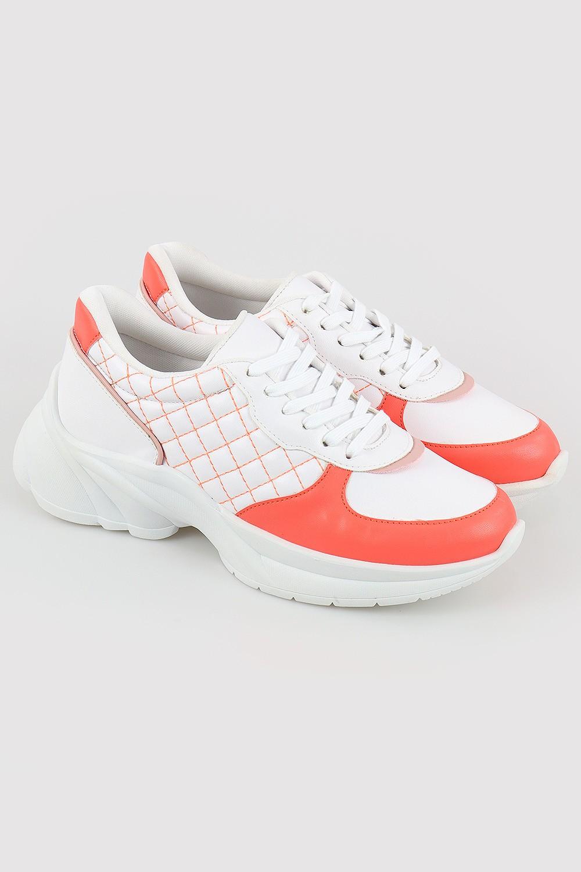 Tênis Chiquiteira Casual Xadrez Santorine Branco/Candy/Coral LD