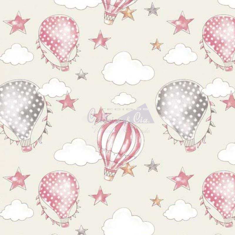 Caldeira Coleção Circus - Estampa Ballon Creme com Rosa - 50cm x 150cm