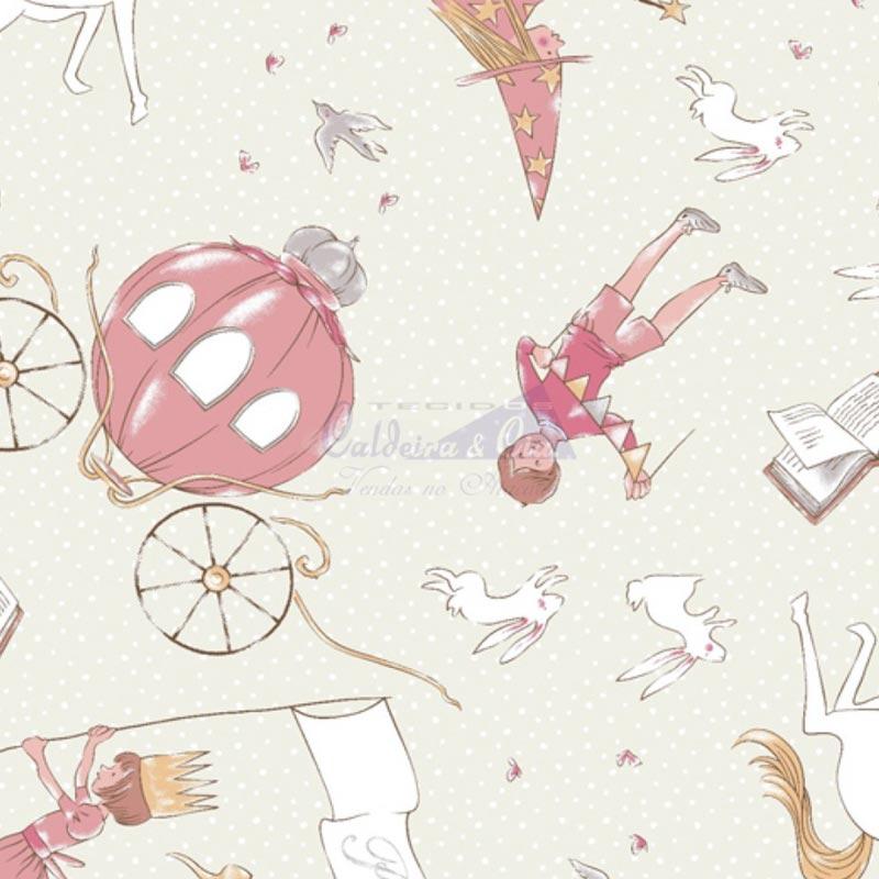 Caldeira Coleção Conto de Fadas - Estampa Conto de Fadas Creme com Rosa - 50cm x 150cm