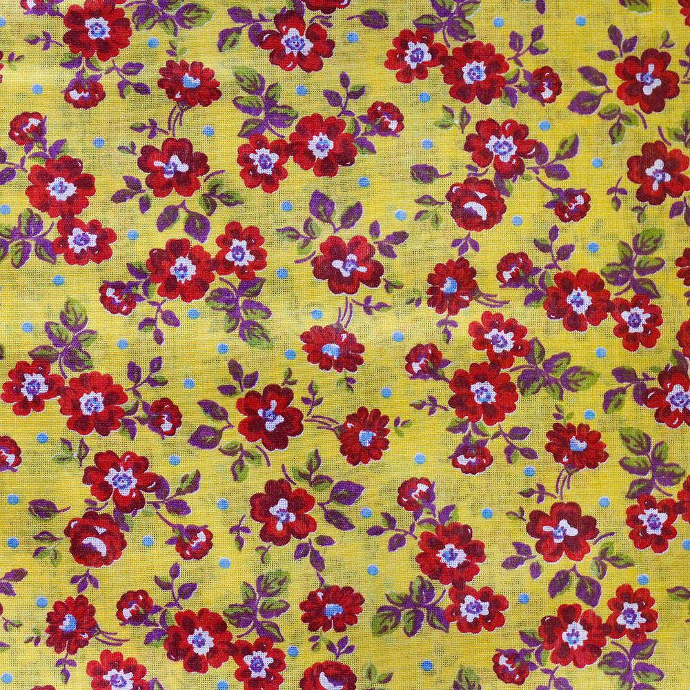 Chita Floral Vermelho Pequeno Fundo Amarelo 50cm x 140cm