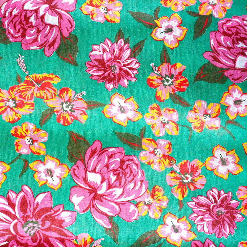 Chita Floral Rosa e Laranja Fundo Verde 50cm x 140cm
