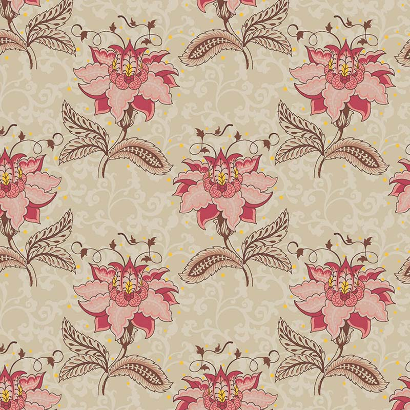 Fabricart Coleção Floral Jacobean - Floral Jacobean Arabesque Creme 50cm X150cm