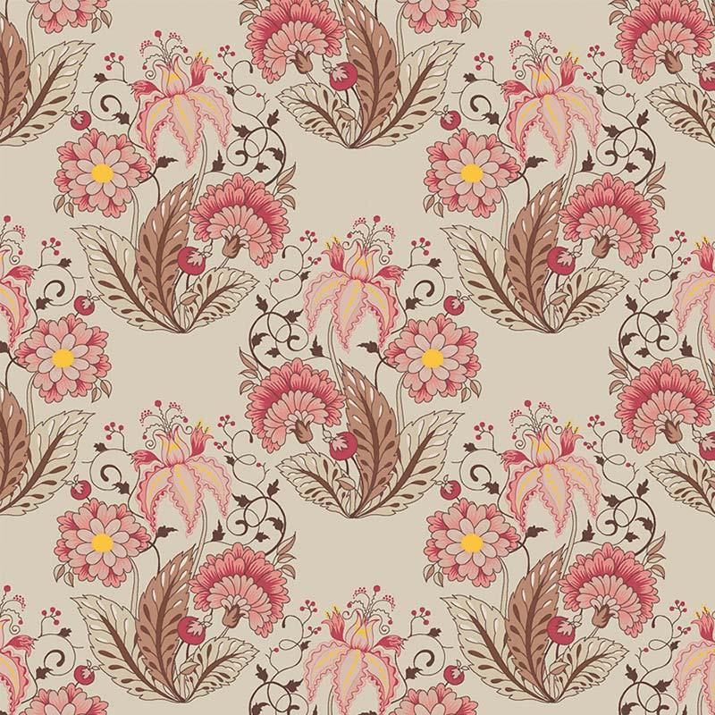 Fabricart Coleção Jacoebean - Floral Jacobean Creme 50cm X150cm