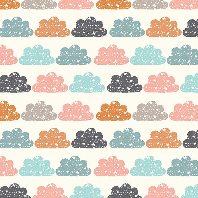 Fabricart Coleção Brilha Estrelinha - Nuvem Color Creme - 50cm X150cm