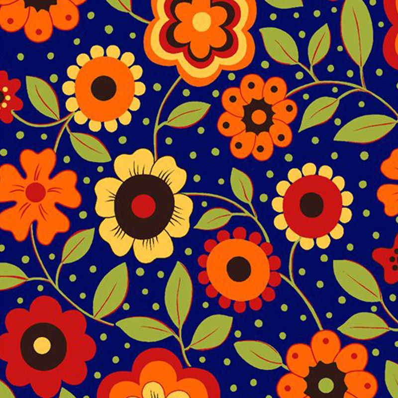 Eva e Eva Coleção Alegria - Estampa Alegria Floral Marinho - 50cm x 150cm