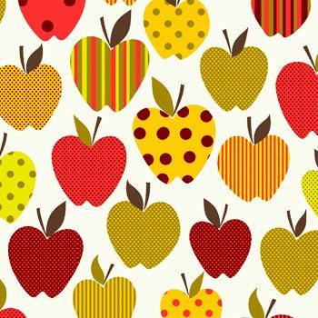 Eva e Eva Coleção Frutas - Estampa Maçãs Divertidas Vermelha Branco - 50cm x 150cm