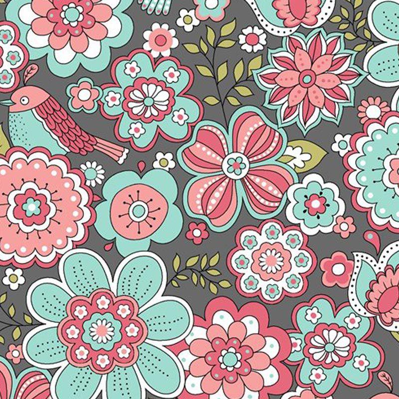 Eva e Eva Coleção Jardim Secreto - Estampa Floral Cinza - 50cm x 150cm