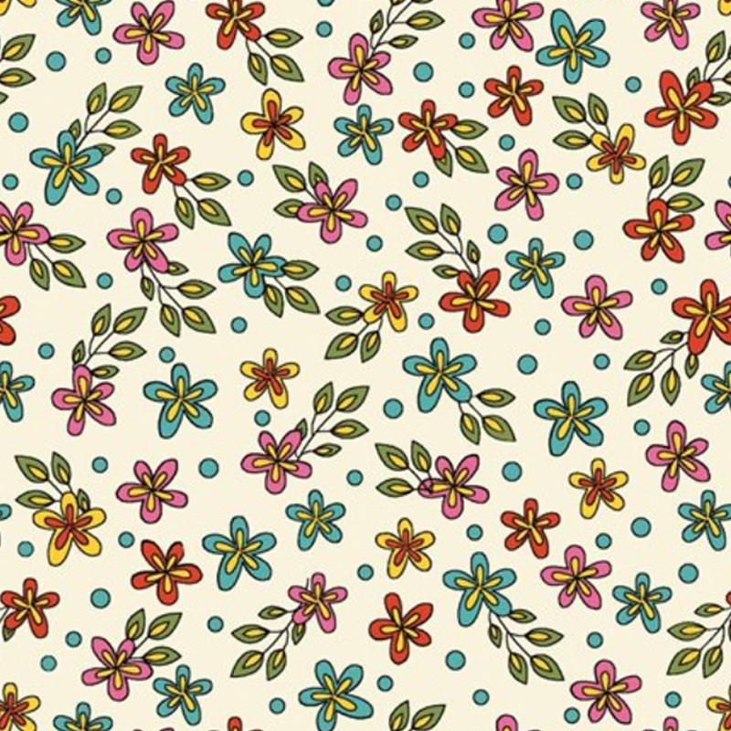 Eva e Eva Coleção Rhapisody - Estampa Floral Fundo Creme - 50cm x 150cm