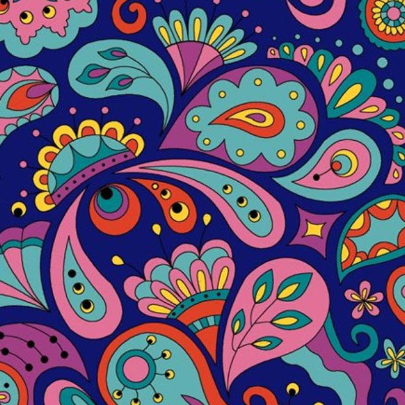 Eva e Eva Coleção Rhapisody - Estampa Rhapisody Color Marinho - 50cm x 150cm