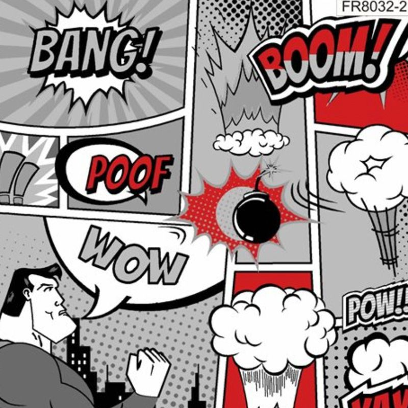 Eva e Eva Coleção Super Hero - Estampa Super Hero Herói  PB - 50cm x 150cm