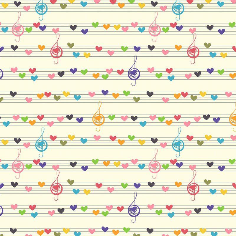 Fabricart - Coleção 116 Colors - Estampa Notas Musicais Coloridas - 50cm X150cm