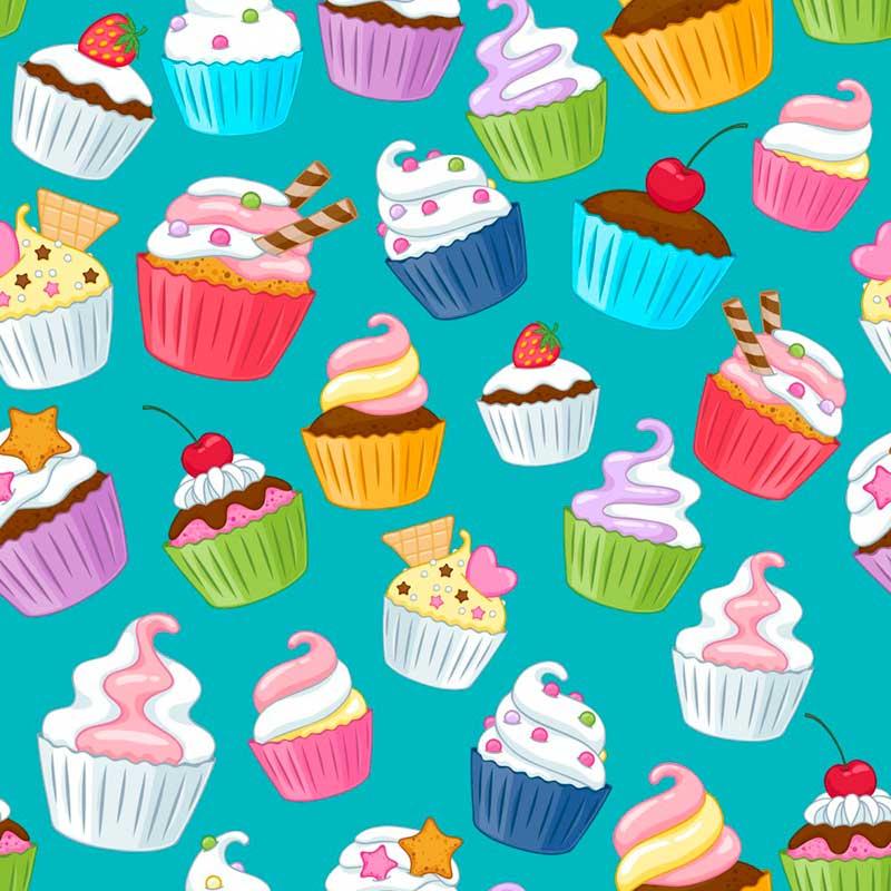 Fabricart - Coleção Digital - Estampa Cupcakes Tiffany - 50cm X150cm
