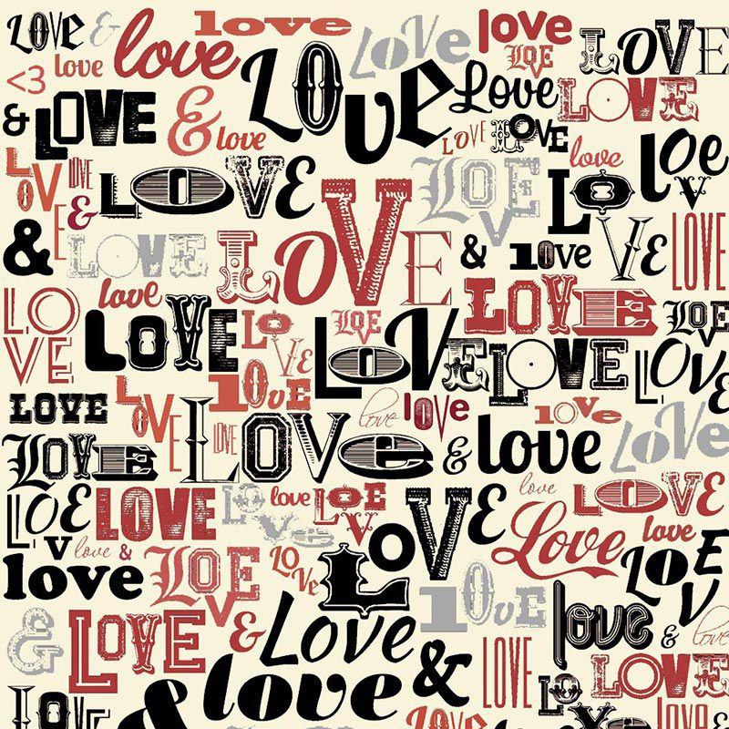 Fabricart Coleção I Love You - Love Love Love Creme - 50cm X150cm