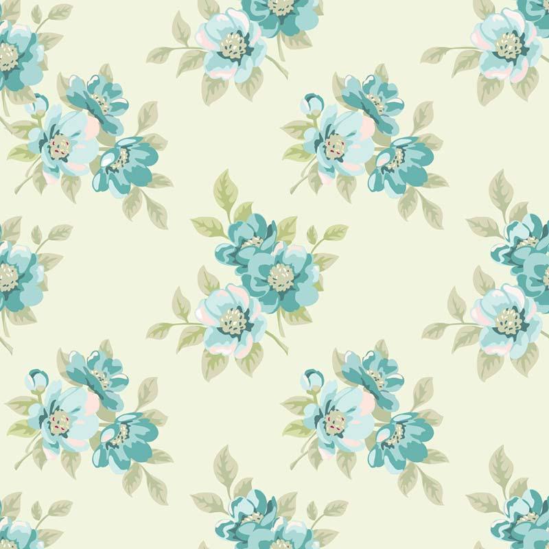 Fabricart Coleção Jardim das Flores - Jardim Creme Azul  - 50cm X150cm