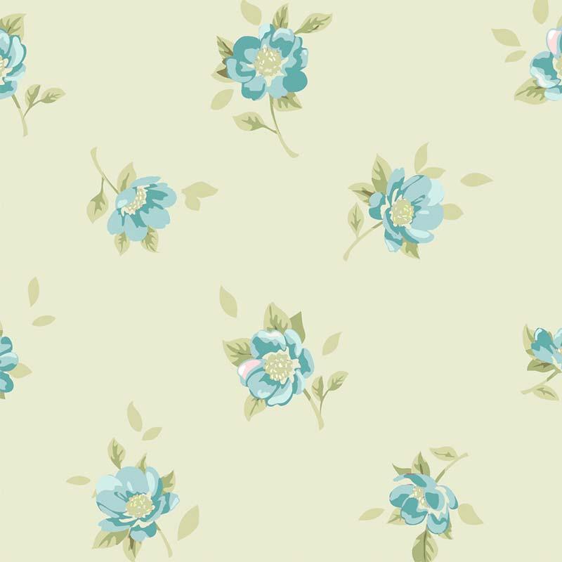 Fabricart Coleção Jardim das Flores - Mini Flor Creme Azul  - 50cm X150cm