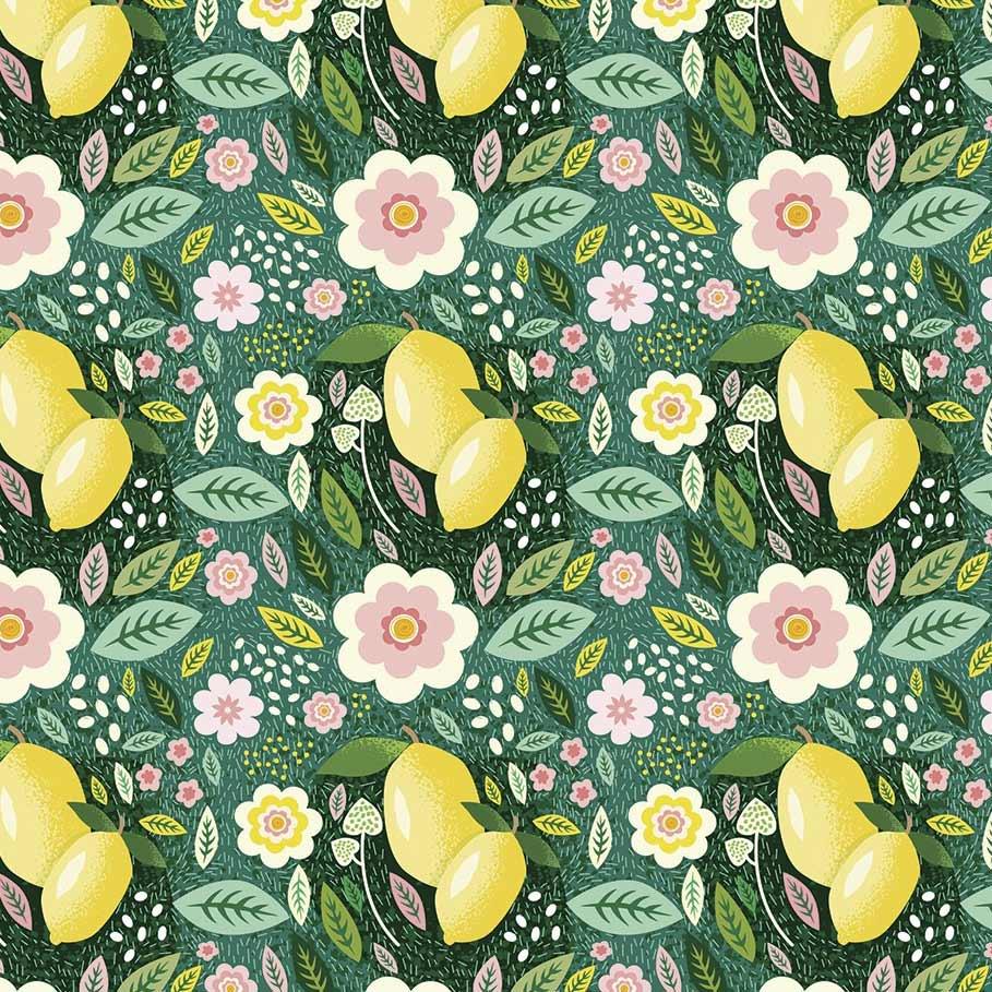 Fabricart Coleção Siciliano - Limão Fundo Verde - 50cm x 150cm