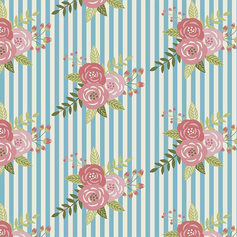 Fabricart Signature - Coleção Shabby - Floral com Listras Azuis - 50cm X150cm