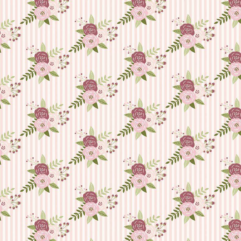 Fabricart Signature - Coleção Shabby - Floral Listras Rosas - 50cm X150cm