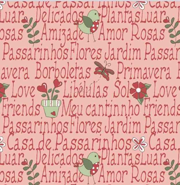 Fuxicos e Fricotes Coleção Garden - Mini Garden Rosa - 50cm X150cm