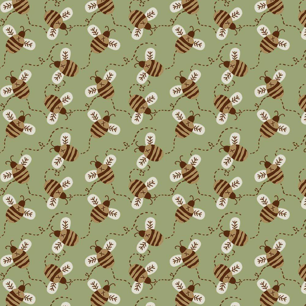 Fuxicos e Fricotes Coleção Maçã Com Mel - Abelinhas Fundo Verde - 50cm X150cm